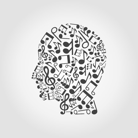 Head of the person made of musical notes Vector
