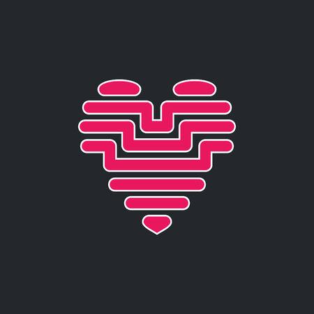 corazon roto: Corazón rosado sobre un fondo gris Vectores