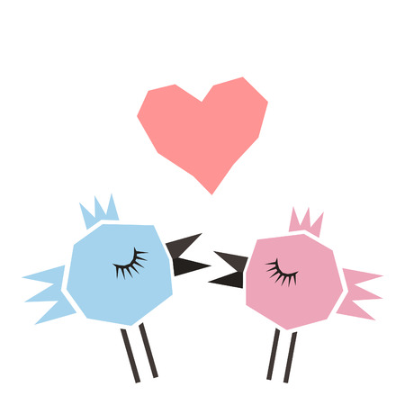 Two birds sing love heart Vector