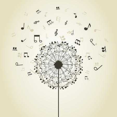 iconos de m�sica: Las notas musicales alrededor de una flor de un diente de le�n Vectores