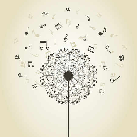 Musical notes around a flower a dandelion Illustration