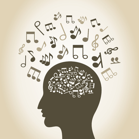 Musical notes inside and round a head of the person Vector