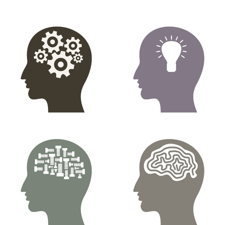 head set: Set man a head and brains with idea