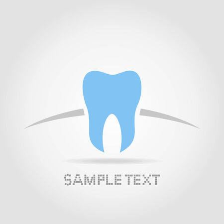 Blue tooth of the person on a grey background Illustration
