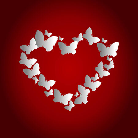 stoned: Heart in the form of butterflies on a red background