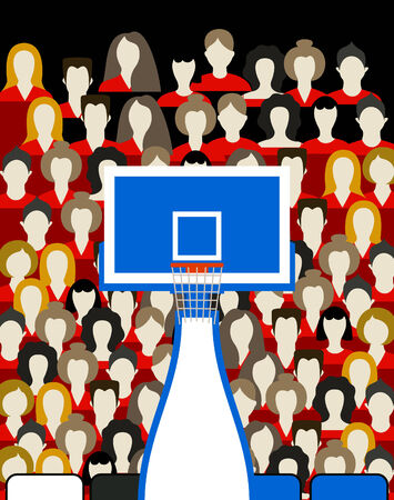 tourney: Spectators on a basketball platform. A vector illustration
