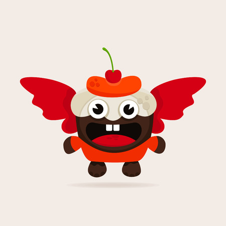 fruitcake: Fruitcake with wings. A vector illustration