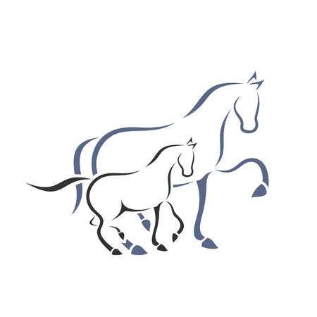 paddock: Horse and foal. A vector illustration