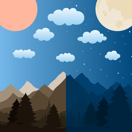 headwaters: The sun and the moon over mountains. A vector illustration