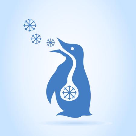The penguin breathes snow. A vector illustration Ilustração