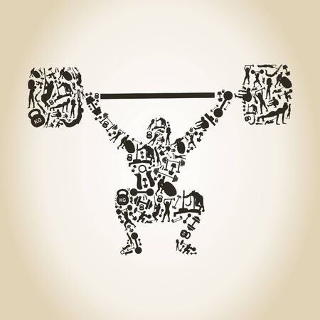 weightlifter: The weightlifter lifts a bar. A vector illustration Illustration