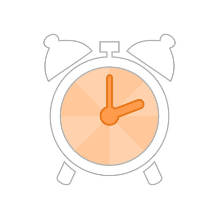readout: The sketch an alarm clock with an orange arrow. A vector illustration
