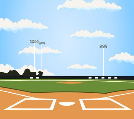 guante de beisbol: El campo de béisbol. Una ilustración vectorial
