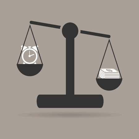 watch and money on the scales Vector