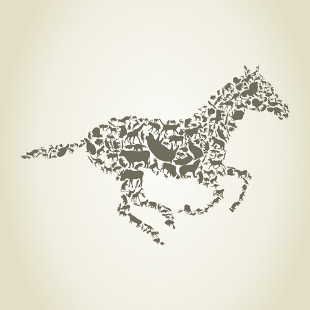 lamb cartoon: horse consists of animals on a gray background Illustration