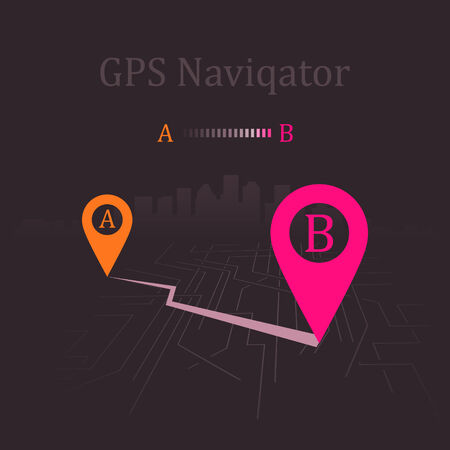home search: Navigator paved route. Vector illustration Illustration