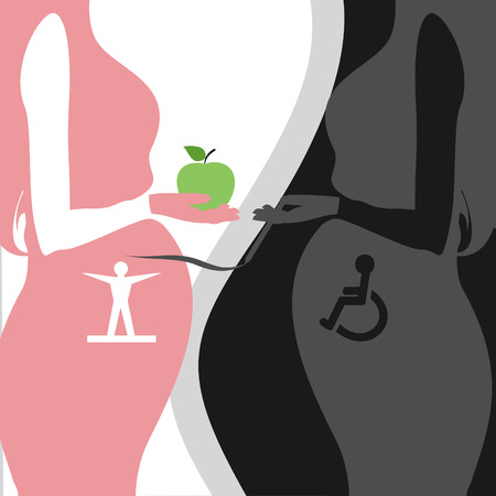 thoughtfulness: two pregnant women healthy lifestyle Illustration