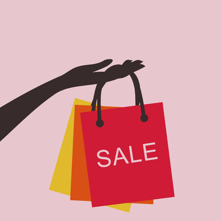 the hand holding the shopping bags Vector