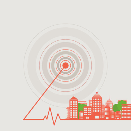 epicentre: Landscape of a city from epicentre. A vector illustration
