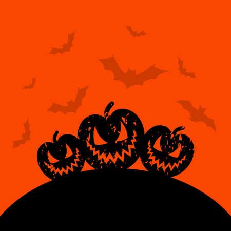 harvest moon: Terrible pumpkins on an orange background. A vector illustration