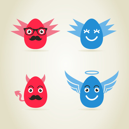 Egg an angel and fig. a vector illustration Vector