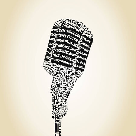 Microphone made of notes. A vector illustration Illustration
