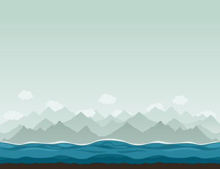 headwaters: The sea against mountains. A vector illustration