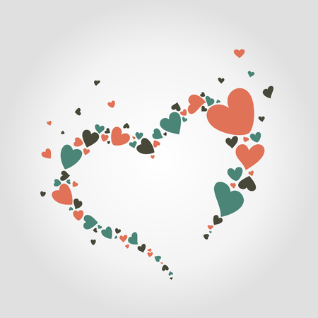 colored hearts collected in heart Vector