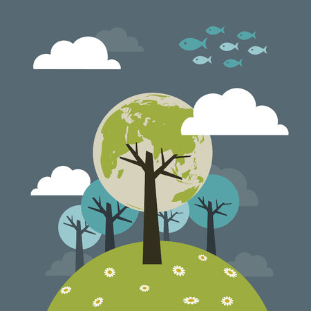 ash cloud: planet of the trees on a blue background Illustration