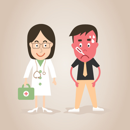 pain scale: The woman the doctor treats the patient. A vector illustration