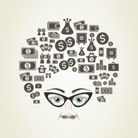 Hairdress from money for a head. A vector illustration Vector