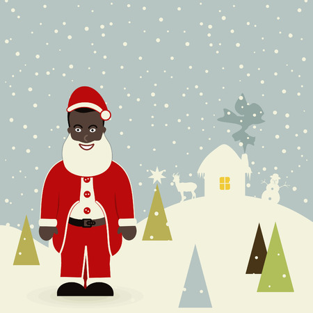 African American Santa Claus. A vector illustration Vector