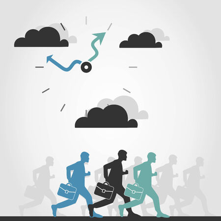 readout: The person is late in office. A vector illustration