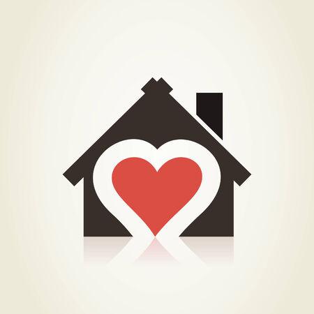 Heart in the house. A vector illustration Vector