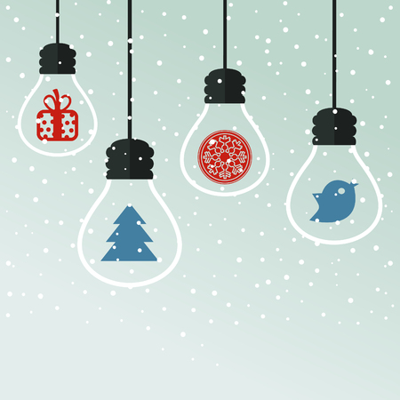 birds scenery: light bulbs with Christmas toys Illustration