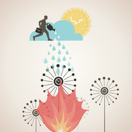 burning time: The person waters burning time. A vector illustration Illustration