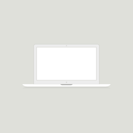 mouth screen: The white laptop on a grey background. A vector illustration
