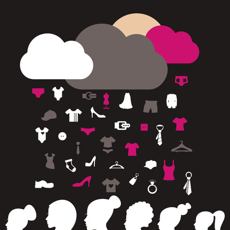 head shoulders: Rain from clothes on women. A vector illustration