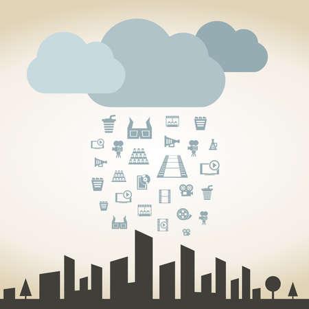 Rain from cinema on a city. A vector illustration Vector