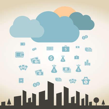 money rain: Rain from money for a city. A vector illustration Illustration