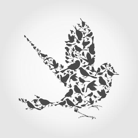Bird made of birds. A vector illustration Vector