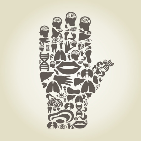 body parts: Hand made of body parts. A vector illustration