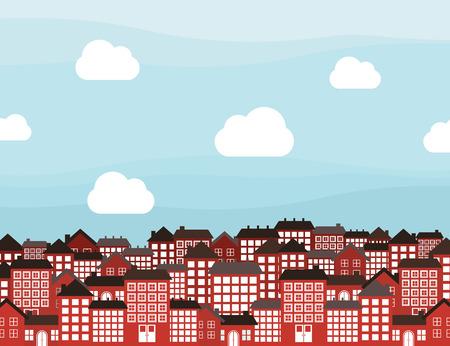 porch: City landscape. A vector illustration