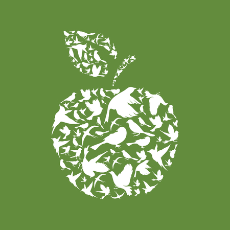 peace stamp: Apple made of birds. A vector illustration Illustration