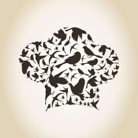 peace stamp: The cook made of birds. A vector illustration Illustration
