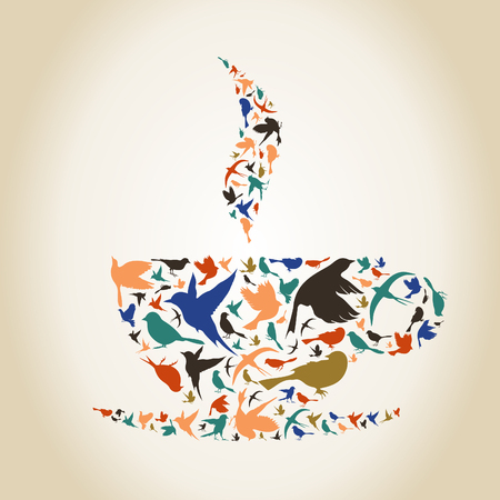 peace stamp: Cup made of birds. A vector illustration