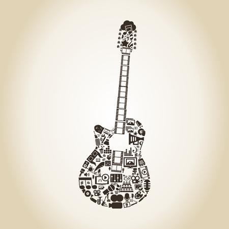 guitar illustration: Guitar made of art. A vector illustration Illustration