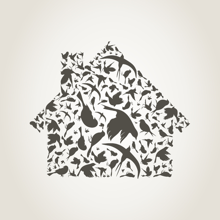 The house made of birds. A vector illustration Vector