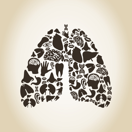 body parts: Lungs made of body parts. A vector illustration Illustration