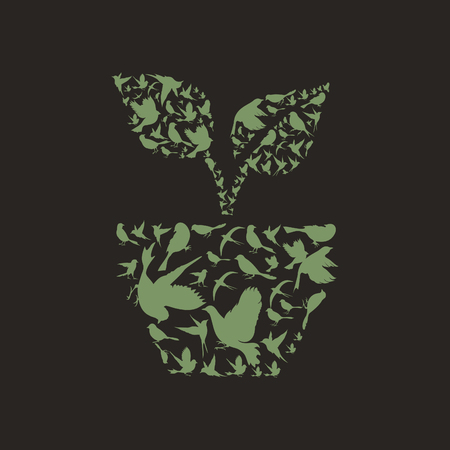 peace stamp: Plant made of birds. A vector illustration Illustration